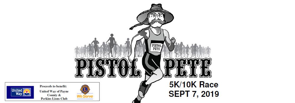 Pistol Pete 5K/10K Race Sept 8, click here to register online